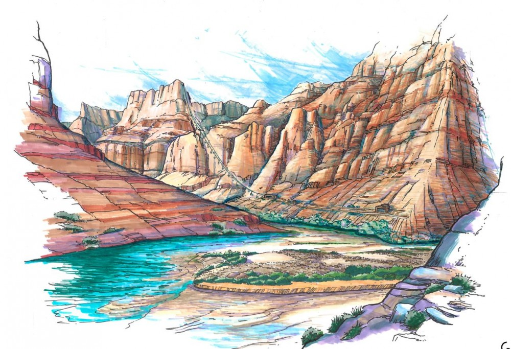 Artists rendering of proposed tram from east rim of Grand Canyon to Colorado River